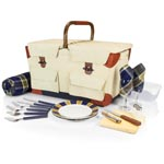 PIONEER PICNIC BASKET, (BEIGE CANVAS WITH NAVY BLUE & BROWN ACCENTS)